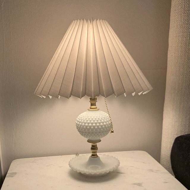 New White Chintz Knife Pleated Lampshade Available In Two Styles