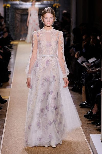 Delicate Beauty From Valentino Couture Spring 2012 Sheer White Gown With Ornate Off