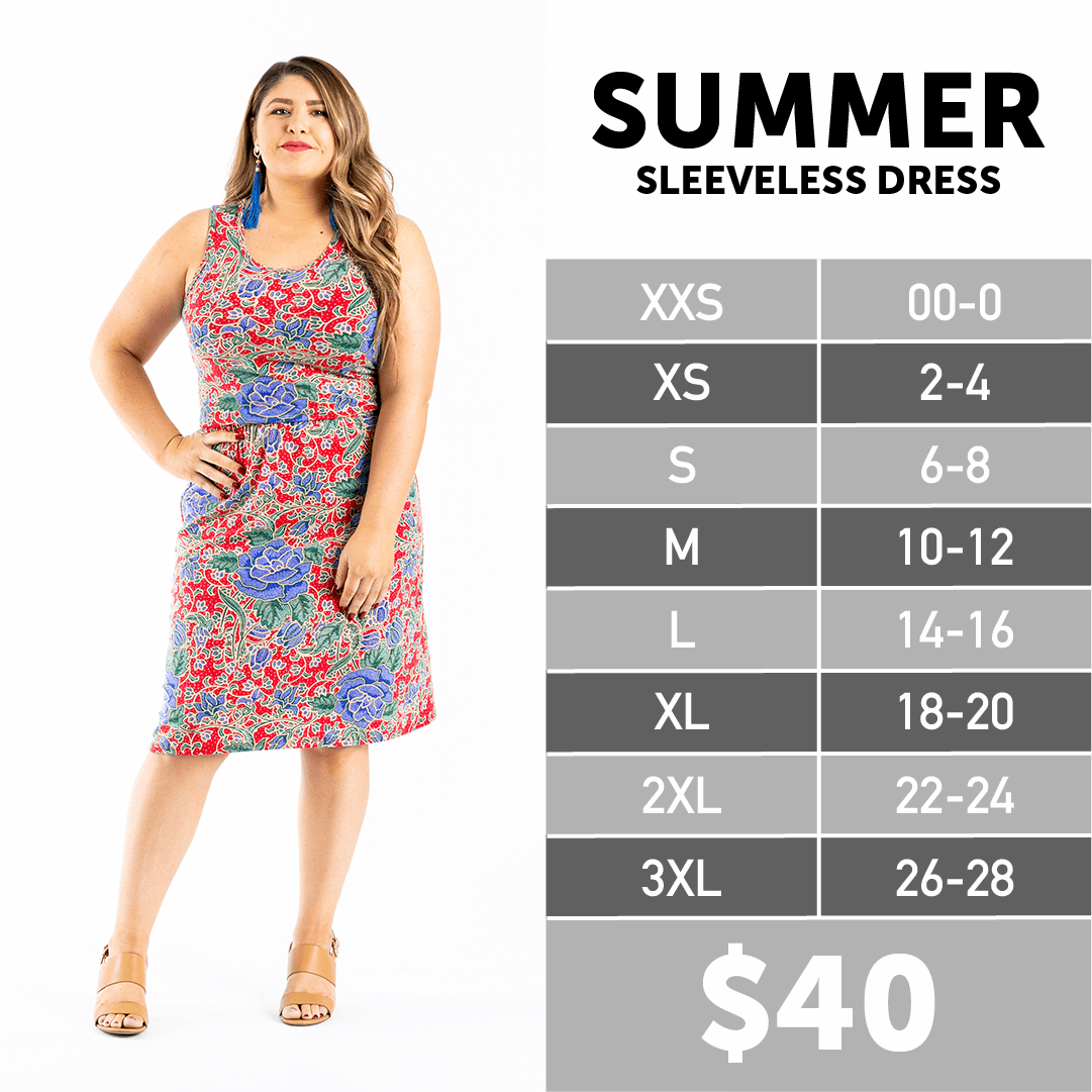 LuLaRoe Summer Sleeveless Dress Size Chart in 2020