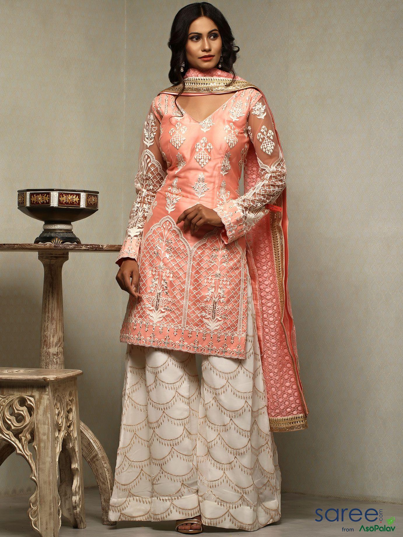 ec943b7bb2c7 Peach Net Palazzo Suit with Resham Embroidery   Pakistani Palazzo ...