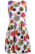 White Sleeveless Vintage Multicolor Floral Plaid Dress