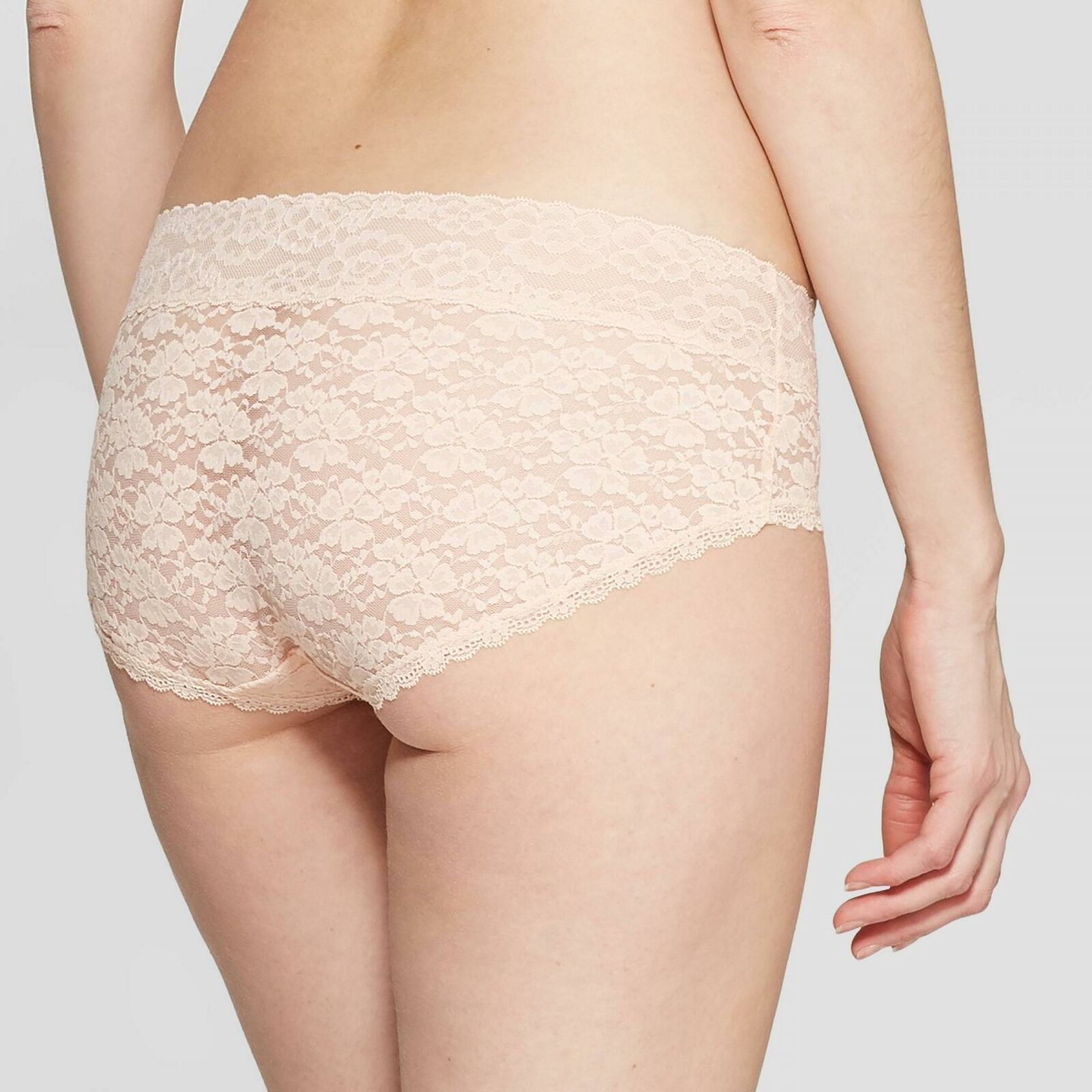 Auden Womens All Over Floral Lace Hipster Honeysuckle Peach Panties