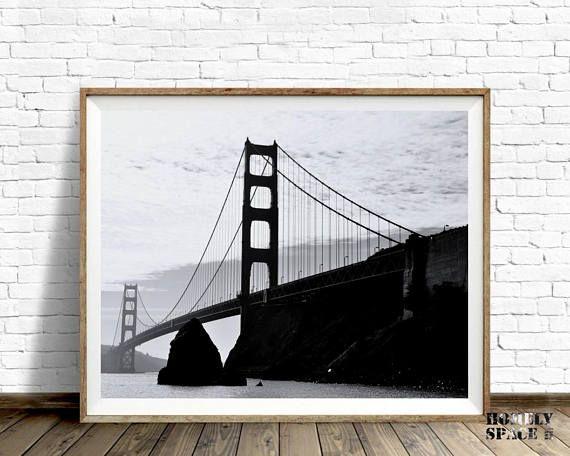 Large wall art print San Francisco Black and white art print ...