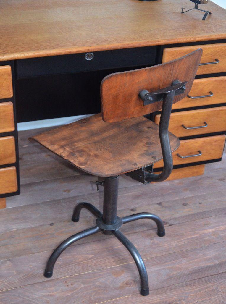 Chaise Bois Mtal Industrielle Atelier Vintage Usine Mobilier Industriel Industrial Furniture Chair