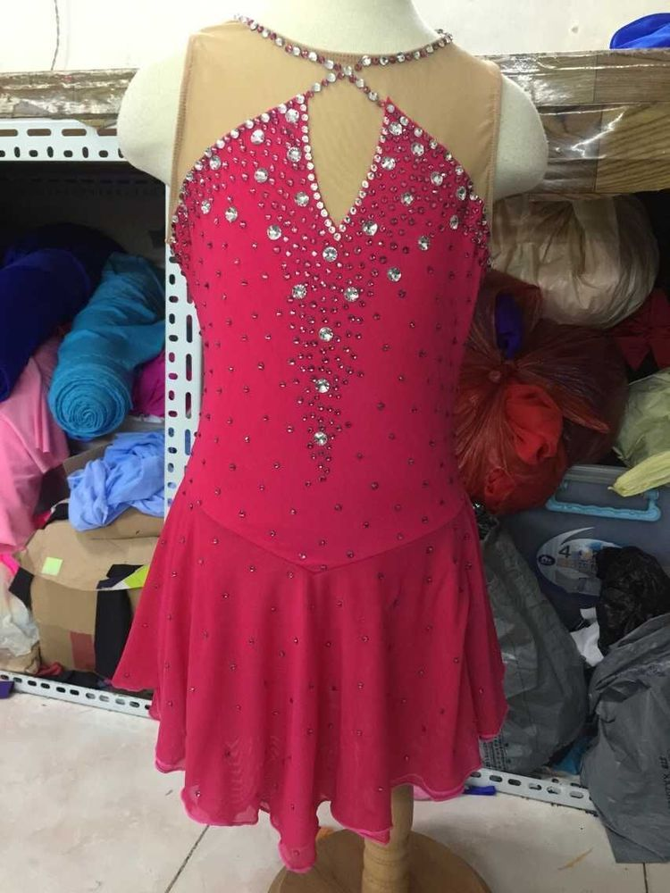 ice skating dresses competition red girls figure  dresses figure skating custom #yike