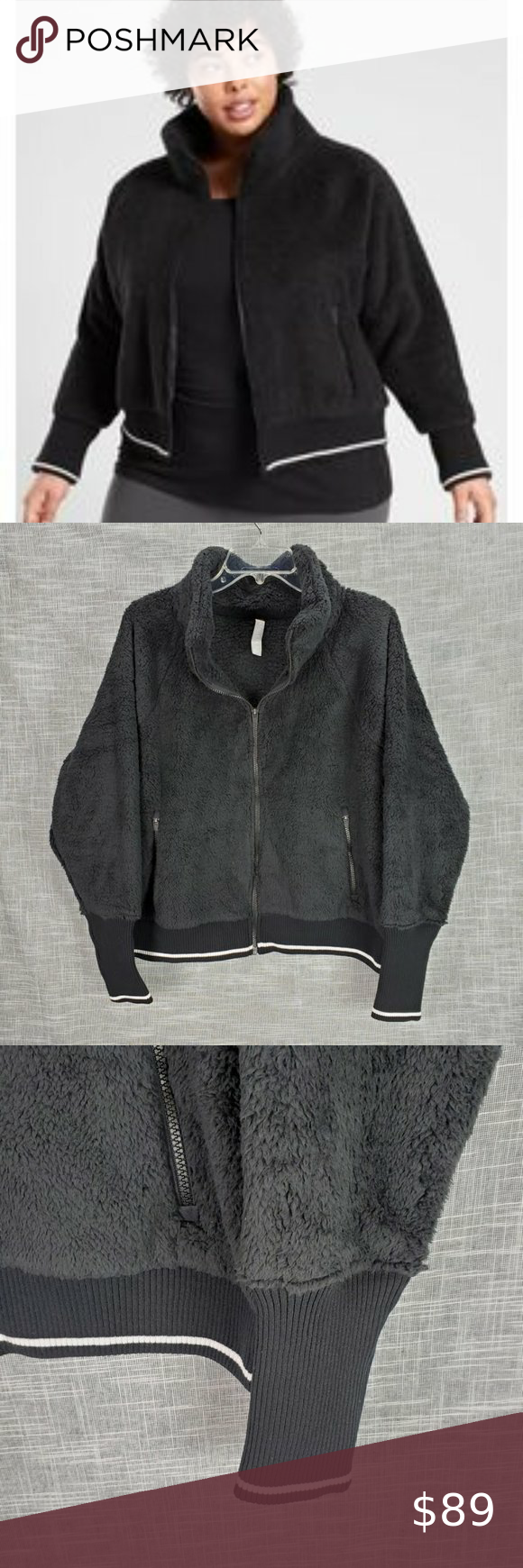 Athleta Teddy Bear Bomber Jacket 1x Nwt Black Clothes Design Jackets Athleta [ 1740 x 580 Pixel ]