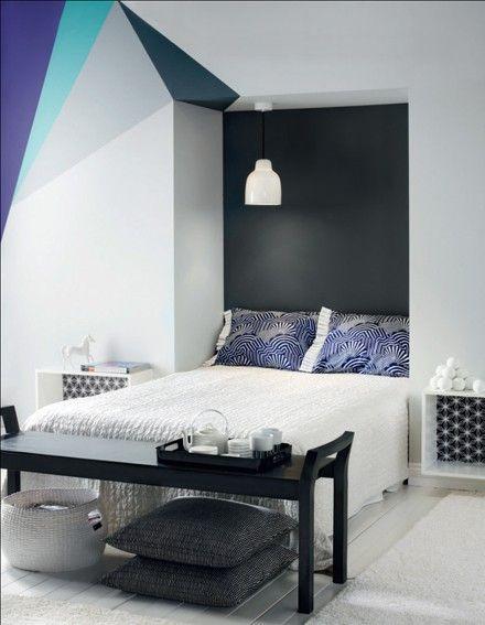 25 id es d co avec des formes g om triques d co id es parement mural decoration et peinture. Black Bedroom Furniture Sets. Home Design Ideas