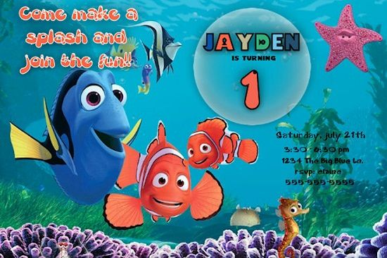 Finding Nemo Birthday Invitations Ideas For Donny Free Printable Templates Custom Personalized