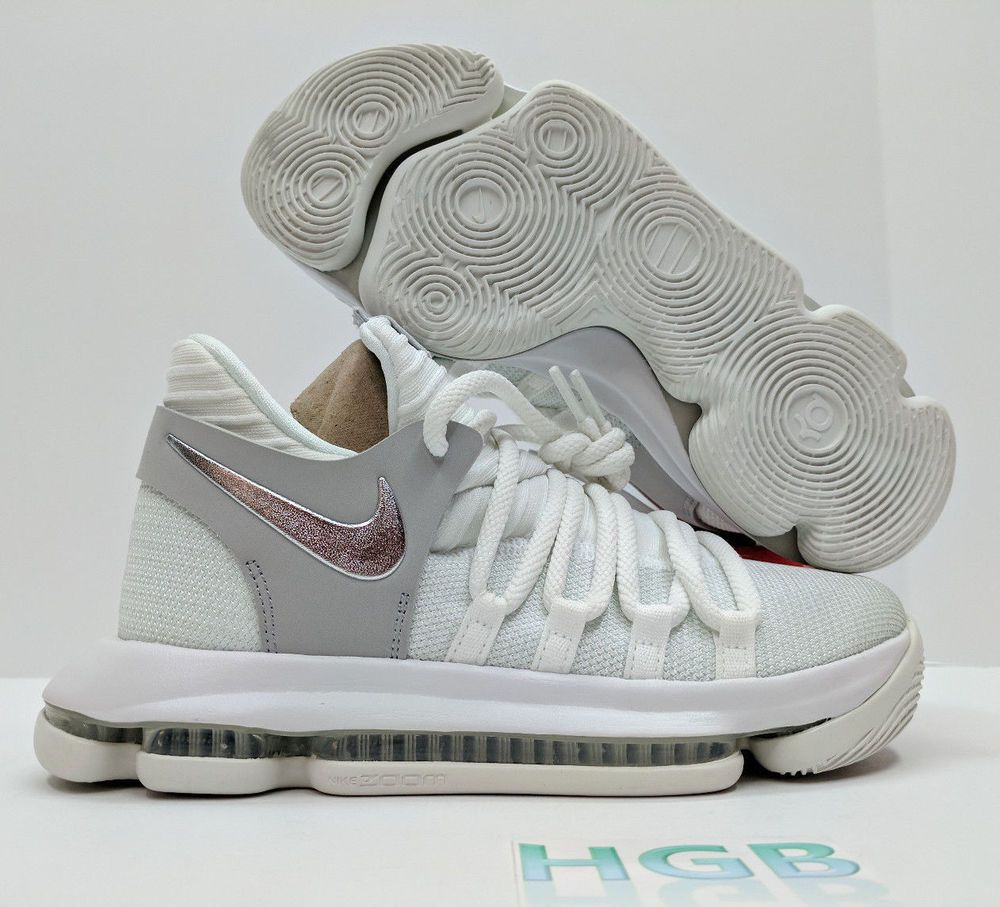 106d7bb62bd5 eBay  Sponsored Nike Zoom KD10 GS Youth Boys Basketball White Chrome  Platinum 918365-100 NIB