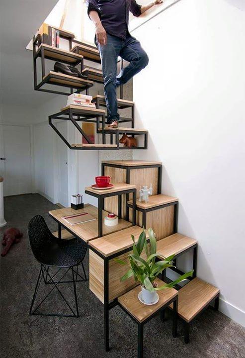 Tof ontwerp voor trap, boekenkast en bureau in een. - OBLY.com ...