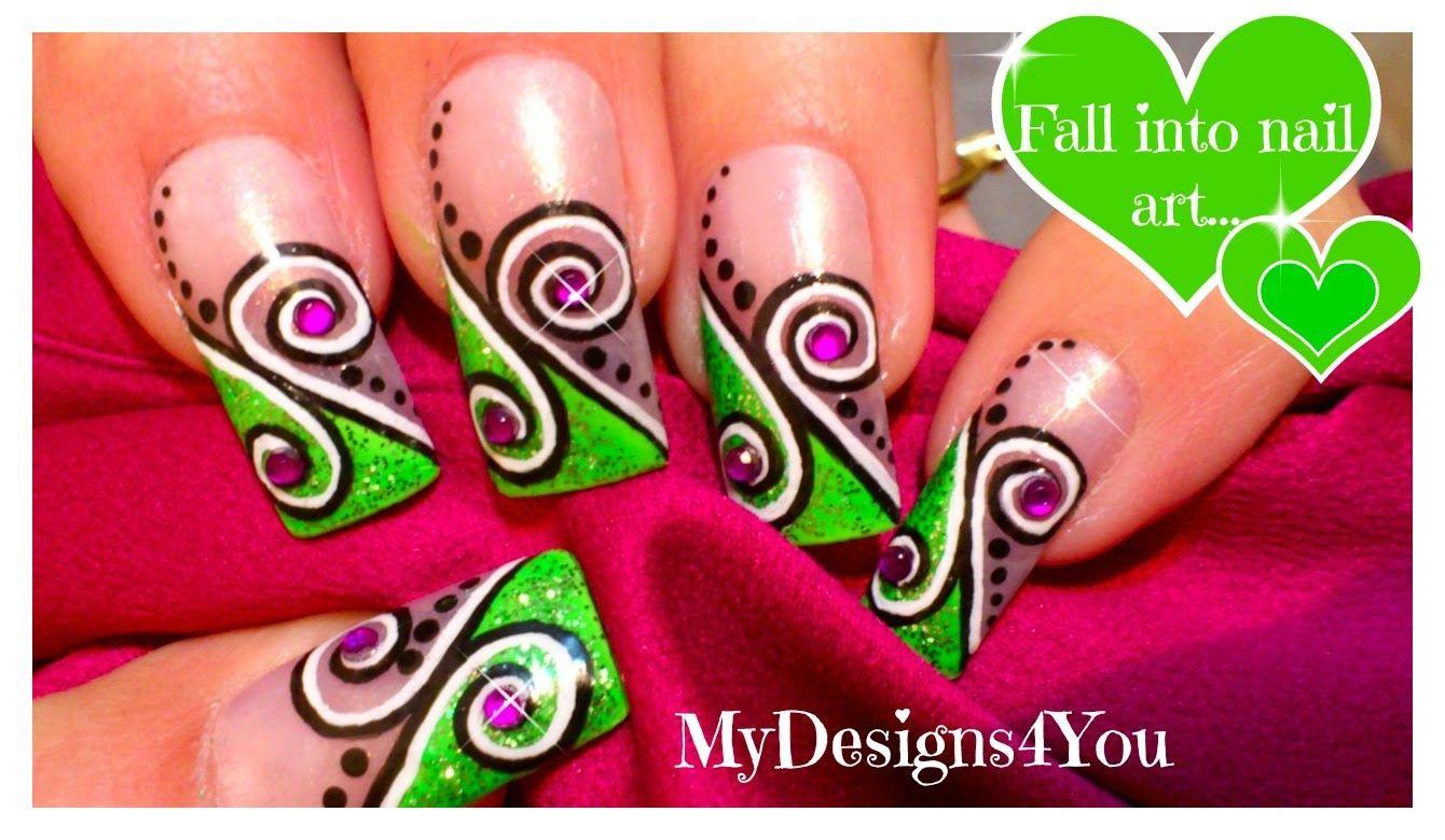 Abstract Nail Art Design Tutorial Green Swirl Nails Youtube