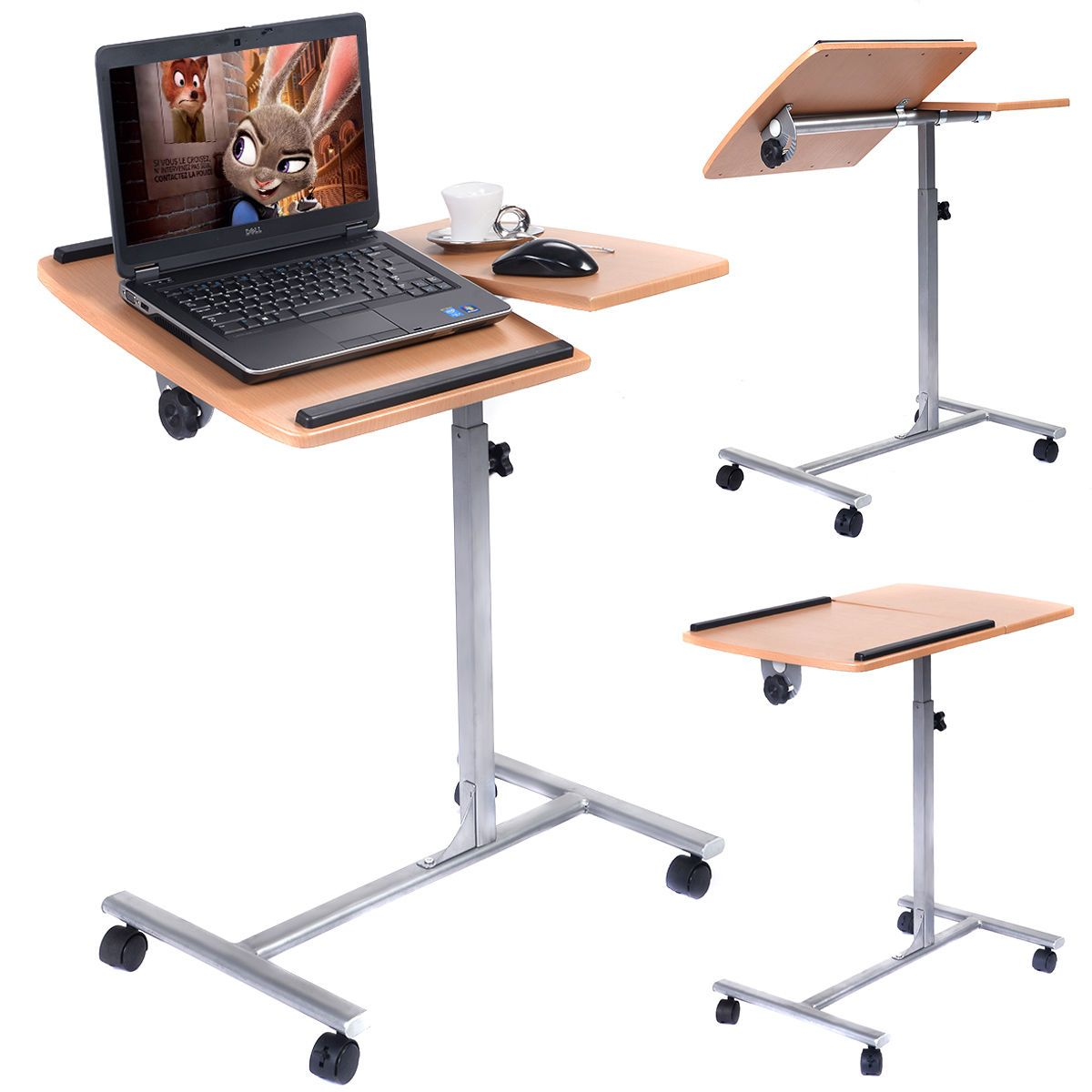 Adjustable Laptop Desk With Stand Holder And Wheels Mdf Mesa