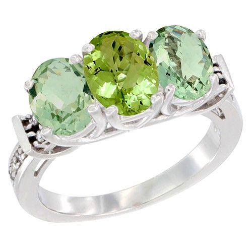 Fine Jewelry Genuine Peridot & Diamond-Accent Heart-Shaped 3-Stone 10K White Gold Ring BFWVQnK
