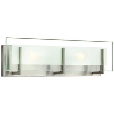 Hinkley latitude 18 wide brushed nickel vanity light lamps plus open box outlet site