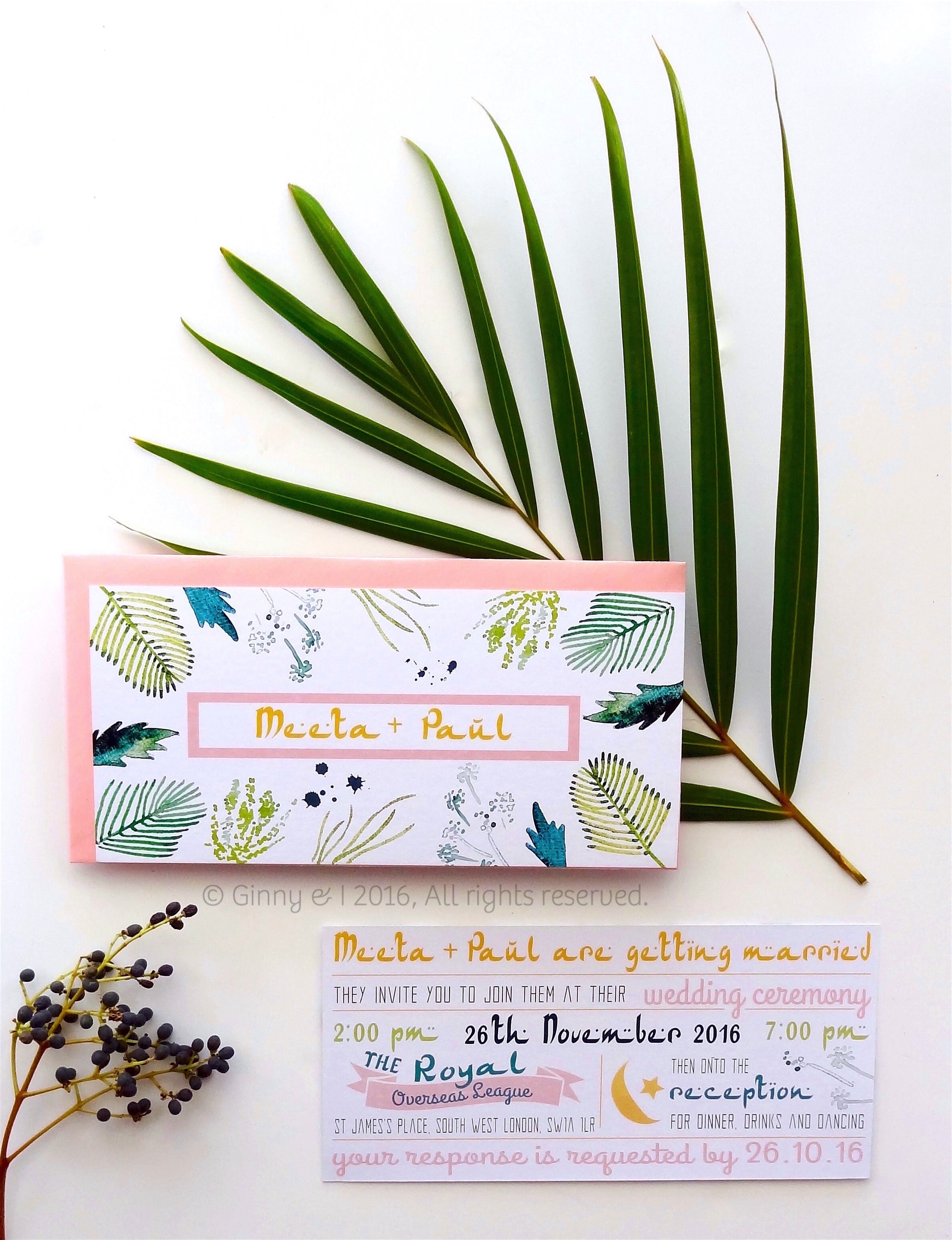 Hot, tropical palm leaves indian themed wedding invitations ...