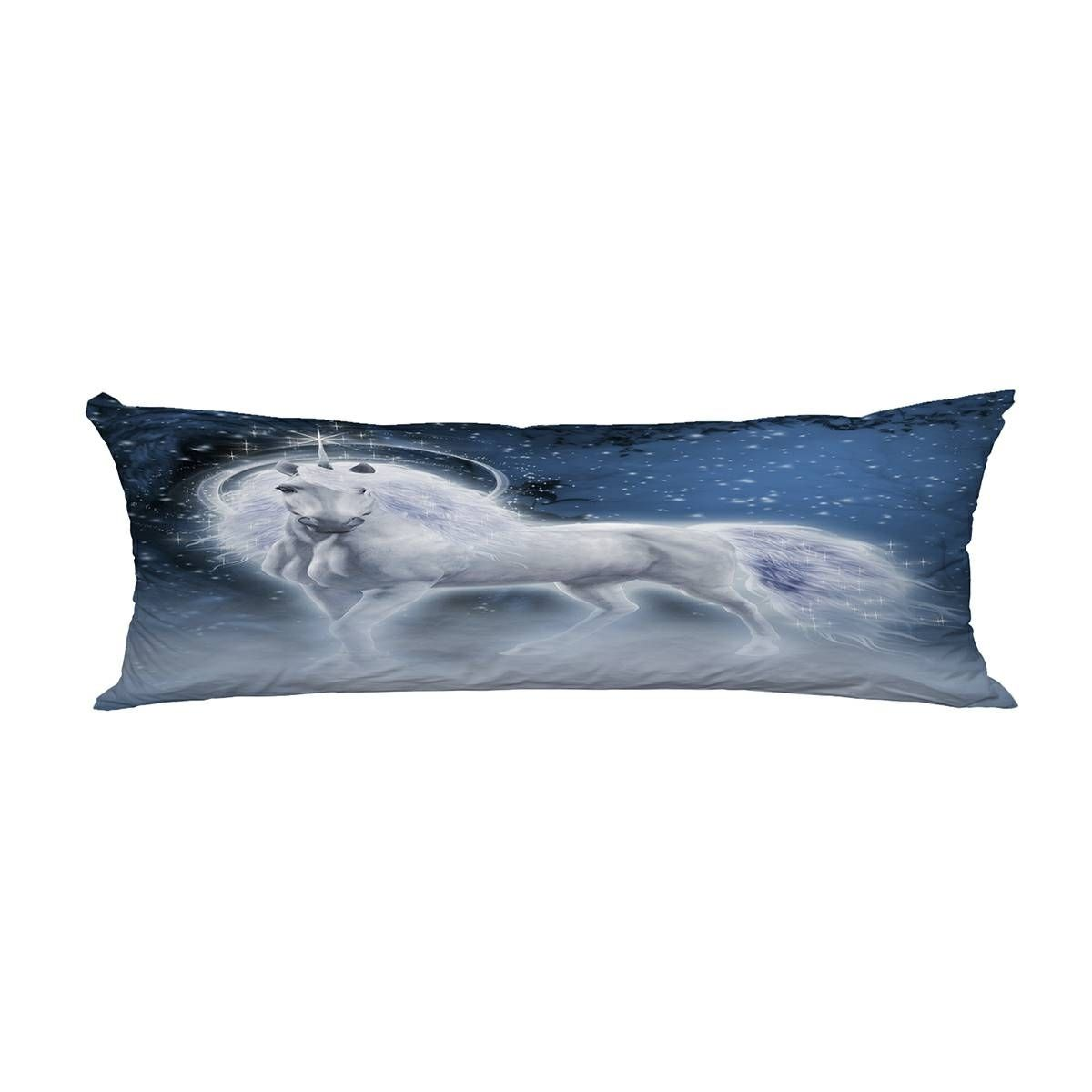 Fantasy scene white unicorn in the evening forest Pillow Cover Body Pillowcase