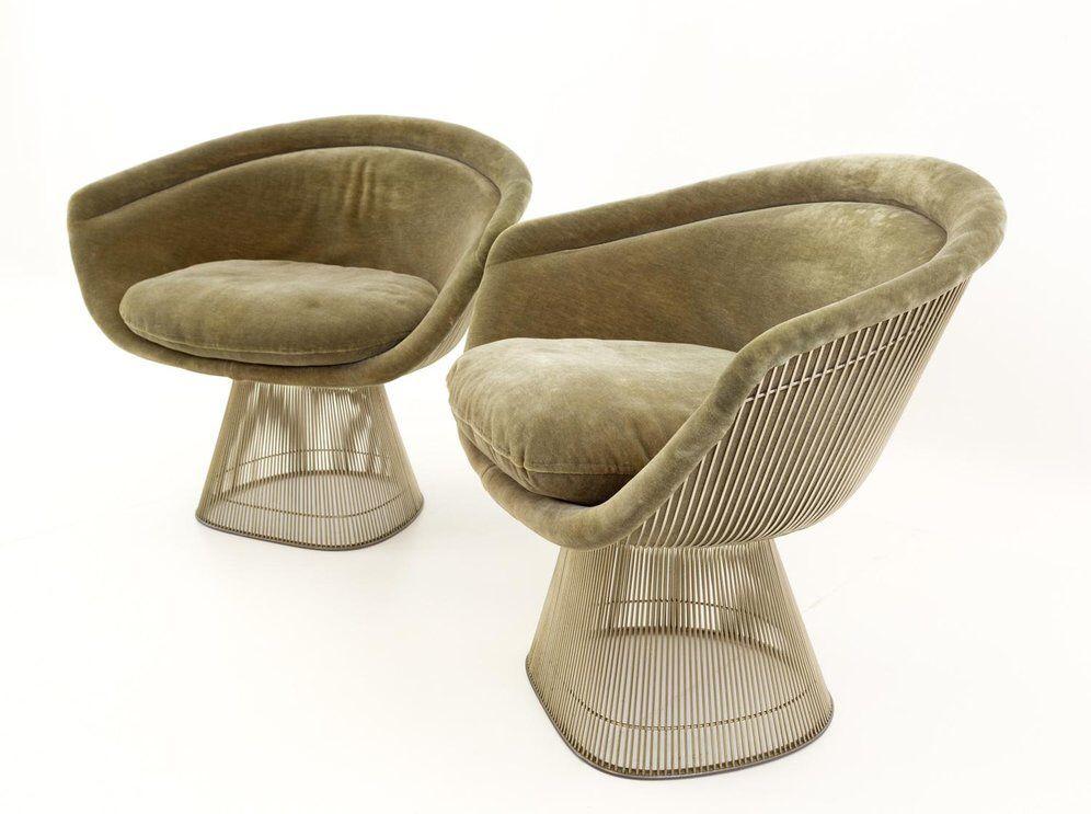 Awe Inspiring Mid Century Modern Warren Platner Lounge Chairs A Pair Andrewgaddart Wooden Chair Designs For Living Room Andrewgaddartcom