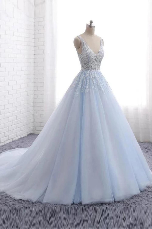 Vestidos de fiesta de tul largos con encaje de princesa Long Gown, vestidos formales con cuello en V US$ 199.00 VTOPBLJLETN - VestidoBello.com