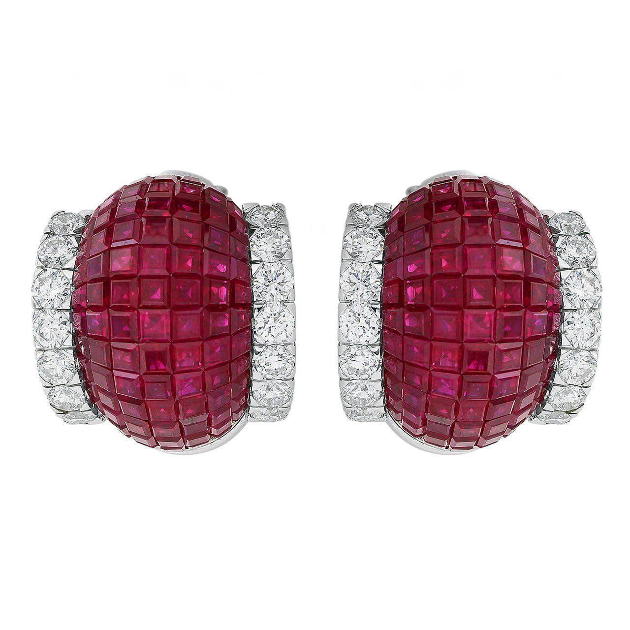 abf24a12e Invisible Setting Ruby Diamond Earrings | Ruby jewelry | Diamond ...