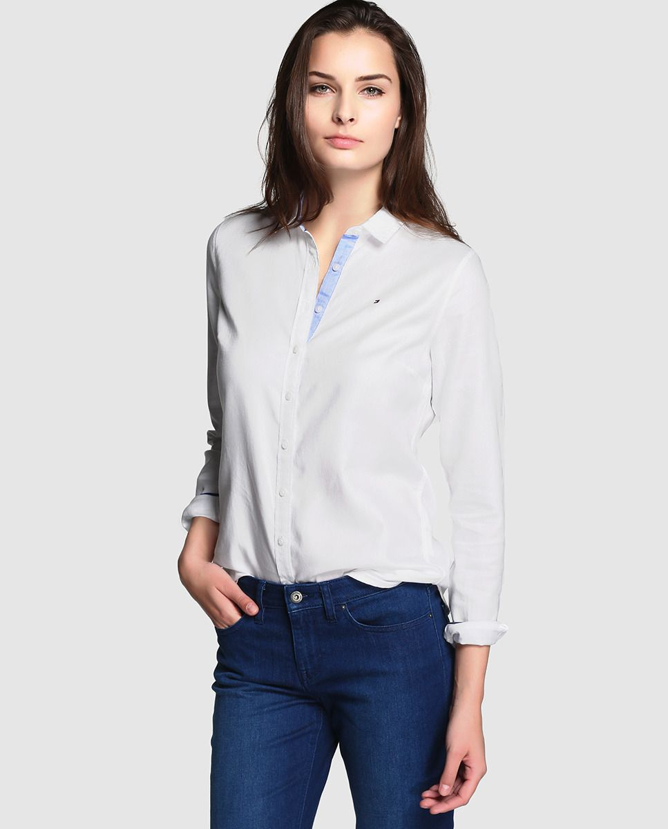 a1d4b239a Camisa oxford de mujer Tommy Hilfiger en blanco | Camisas Manga ...