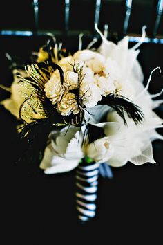 Timeless Black Feather Gold Wedding Inspiration Black Gold