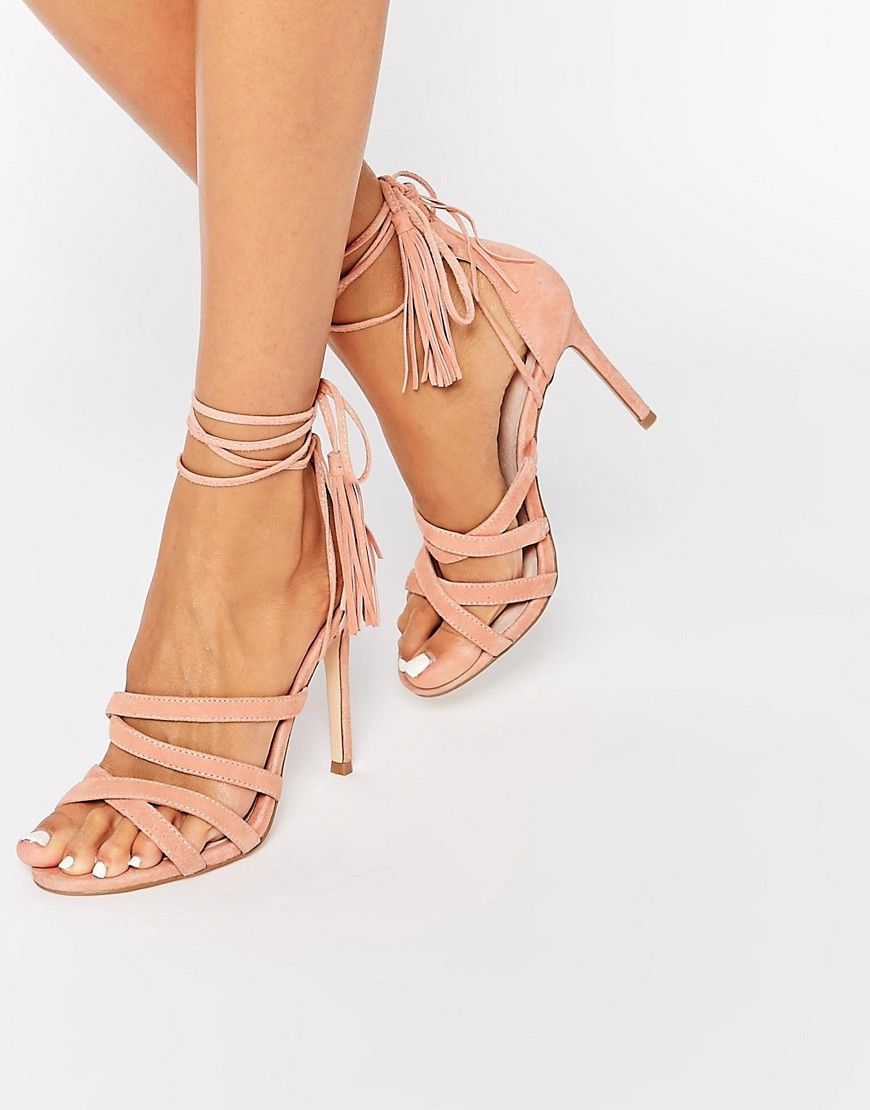 Faith Daft Pink Suede Ghillie Tie Up Heeled Sandals