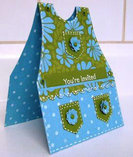 handmade card ... apron shape ... blue and olive ... luv the cute pockets ...