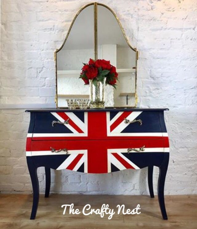 Union Jack Chest Of Drawers Perfect Timing For Feeling Patriotic No Matter Which Party You Support Or Painted Chest Painted Furniture Painted Dining Table