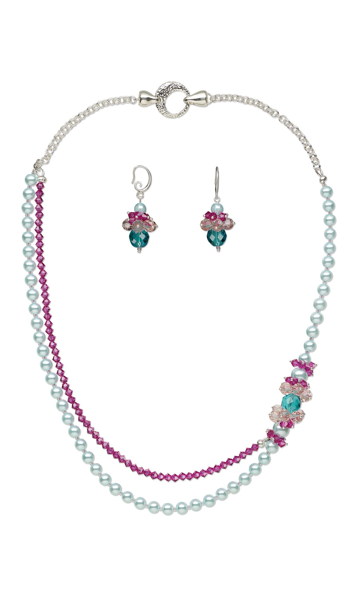 jewelry design double strand necklace and earring set with