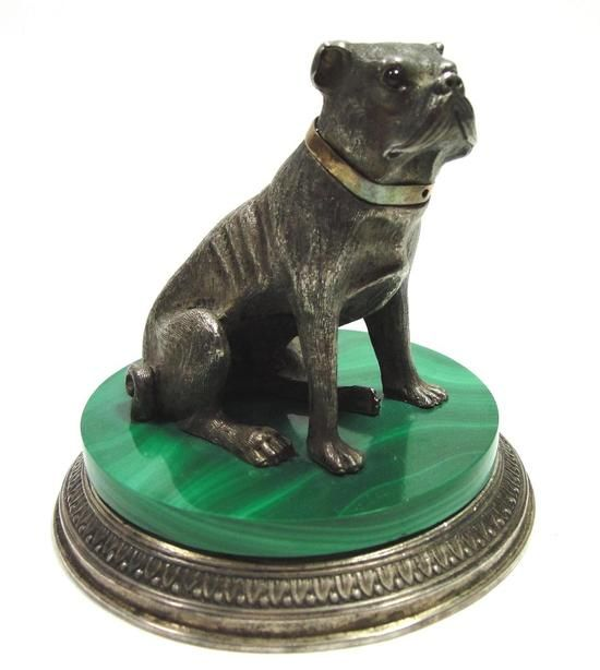 Antique Early-20thC Russian FABERGE Sterling Silver, Malachite Pug