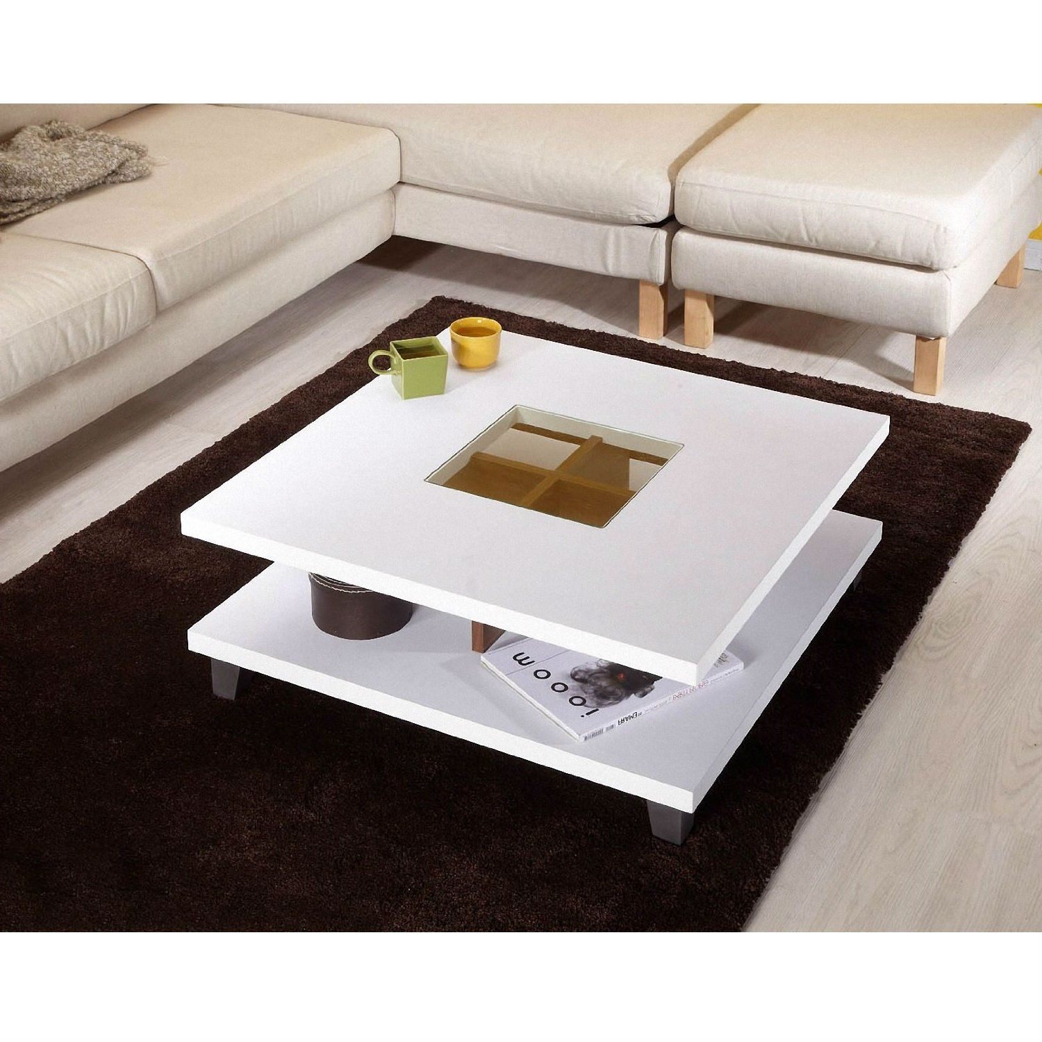 A Pure White Finish Underscores The Clean Lines Of This Modern Square Coffee Table In White Wood Fi Coffee Table Modern Square Coffee Table Coffee Table Square [ 1500 x 1500 Pixel ]