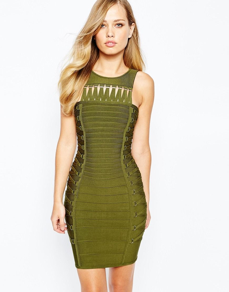 ab94b8df36 Forever Unique Rochelle Lace Up Bandage Dress Green Bandage Dress
