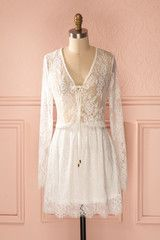 Reese Bright - White lace long sleeved low-cut dress