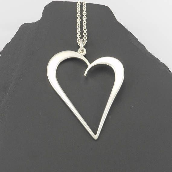 Forged sterling silver heart pendant large silver pendant handmade forged sterling silver heart pendant large silver pendant mozeypictures Images