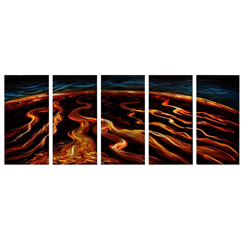 Magma flow wall decoration extra large metal wall art