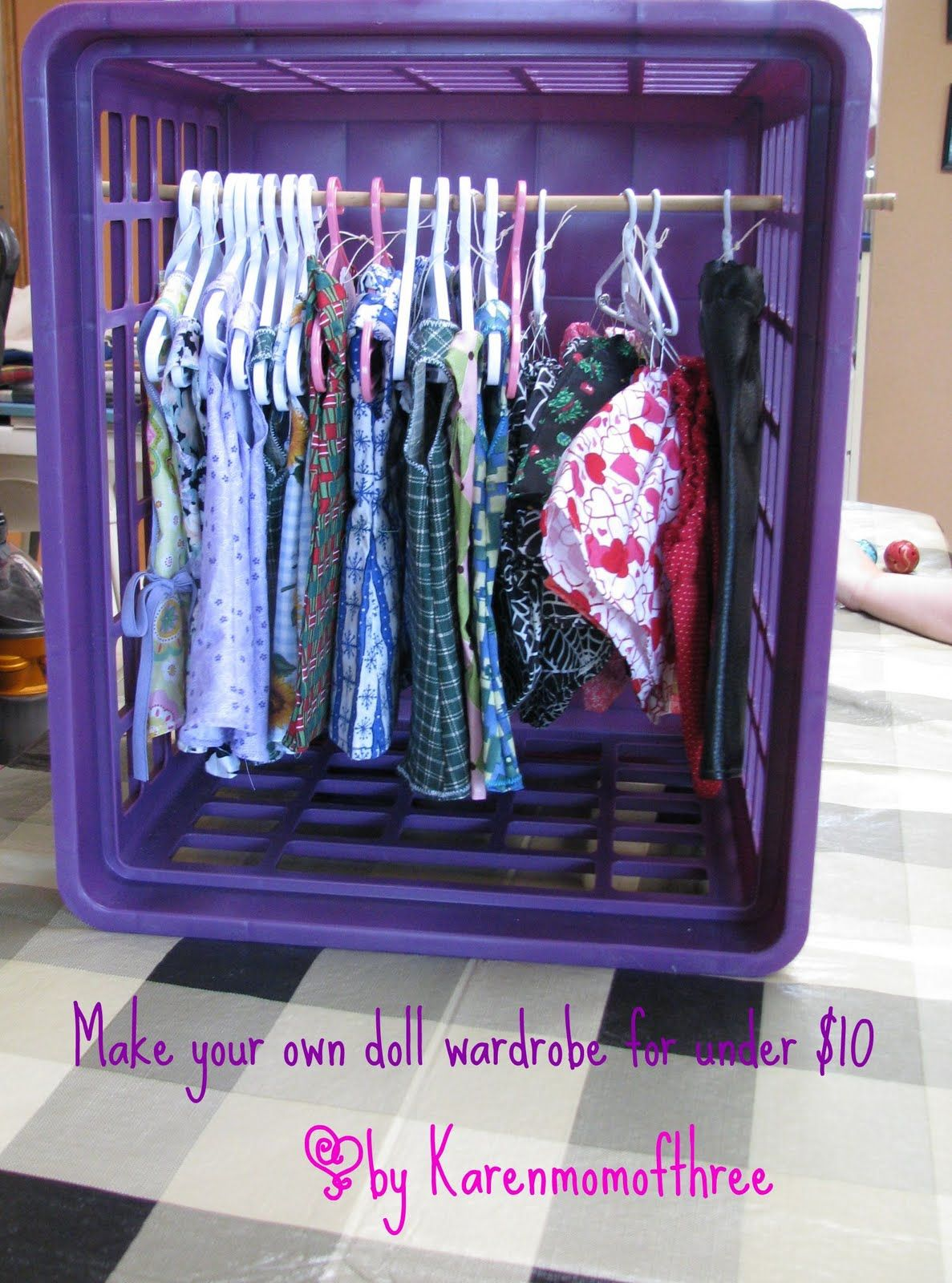 Make Your Own Doll Wardrobe For Under 10 With Images Doll Clothes Storage Ideas Doll Storage American Girl Doll Crafts