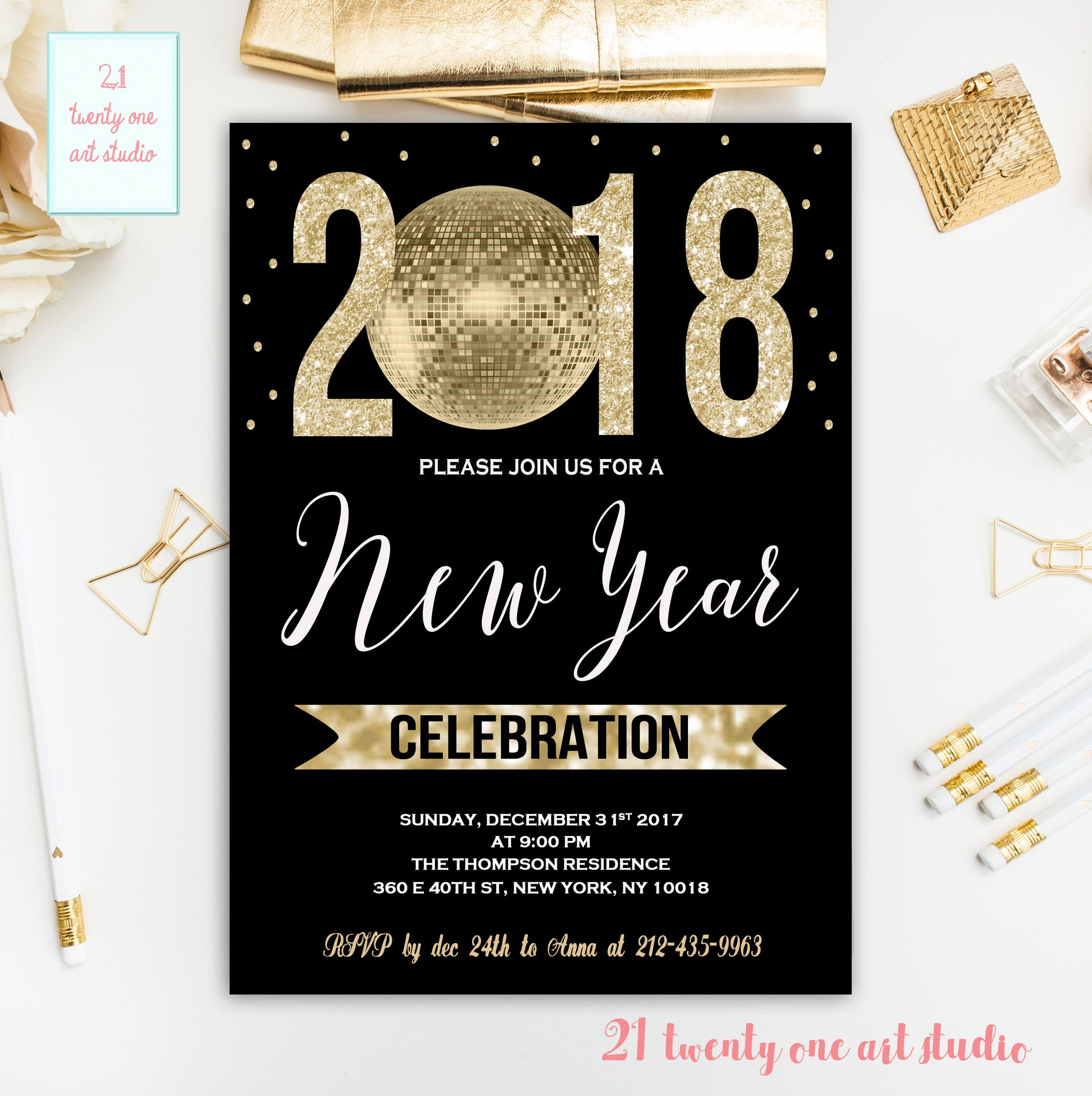 New Year Invitation, New Years Printable, Invitation Gold Glitter ...