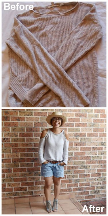 DIY Cut Out Shoulder SweaterThis restyle takes about 10 to 20...