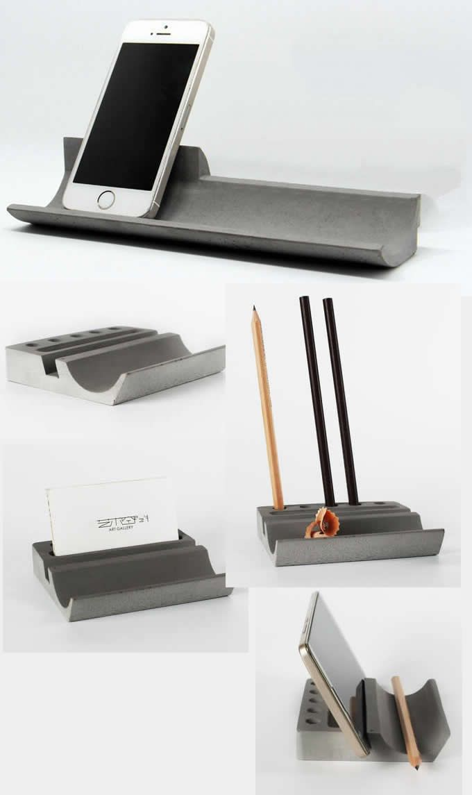 Concrete Desk Stationery Organizer Pen Pencil Holder Smart Phone ...