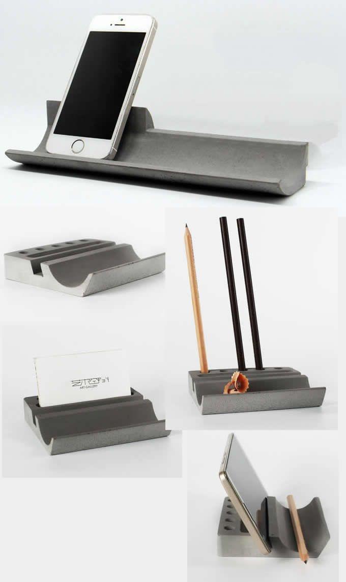 Concrete Desk Stationery Organizer Pen Pencil Holder Smart Phone