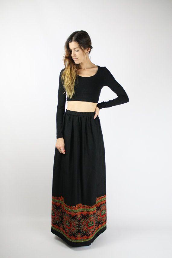 Vintage ETHNIC MAXI Skirt #renewvintage #etsy #vintageskirt #maxiskirt #ethnicskirt