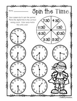Superhero Spin The Time Telling Time To The 00 O Clock 30 Half Hour Telling Time Activities Telling Time Telling Time Practice