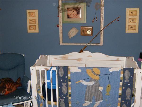 Fishing Themed Baby Boy Nursery I Love The Blanket Hanging On Crib Haha So Cute