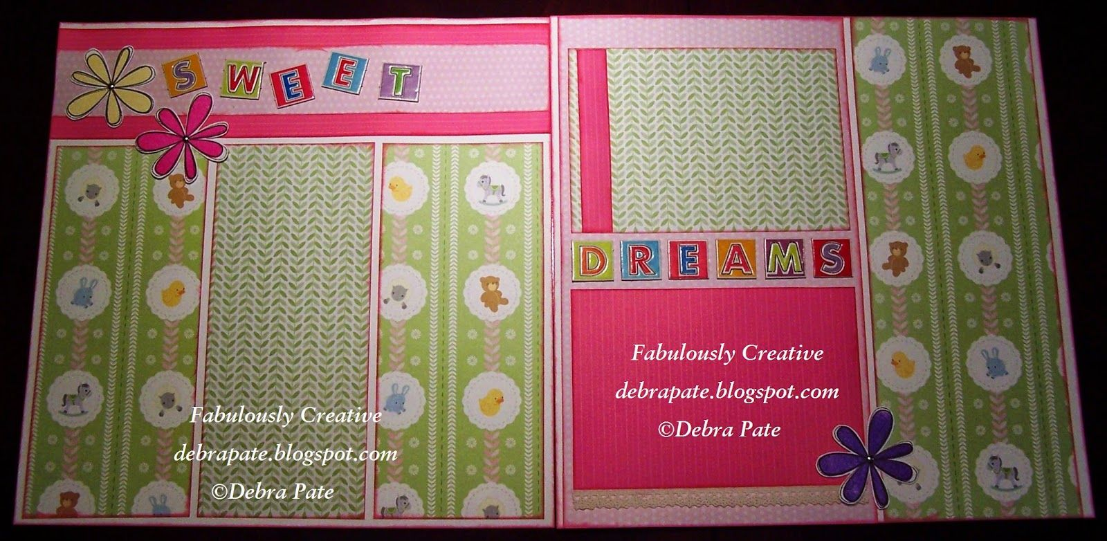 Fabulously Creative: SWEET DREAMS SCRAPBOOK LAYOUT