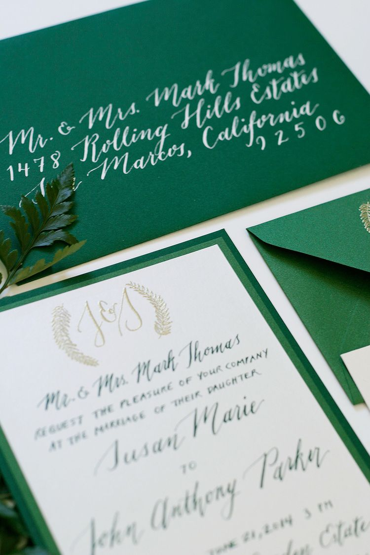 Enchanted forest wedding theme with green, gold, and white ...