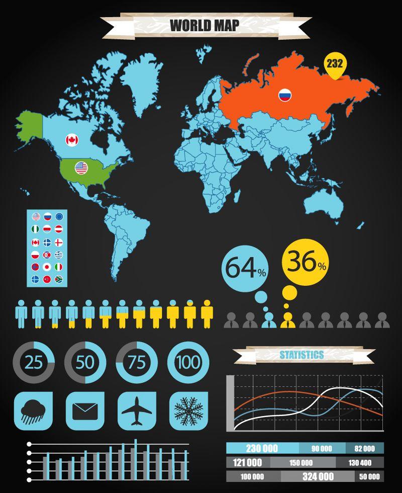 World map vector design pinterest infographics infographics world map vector gumiabroncs Images