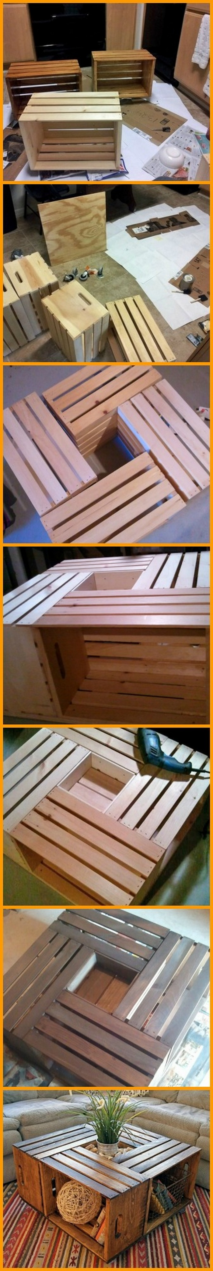 table basse en caisses de bois objets cr atifs. Black Bedroom Furniture Sets. Home Design Ideas