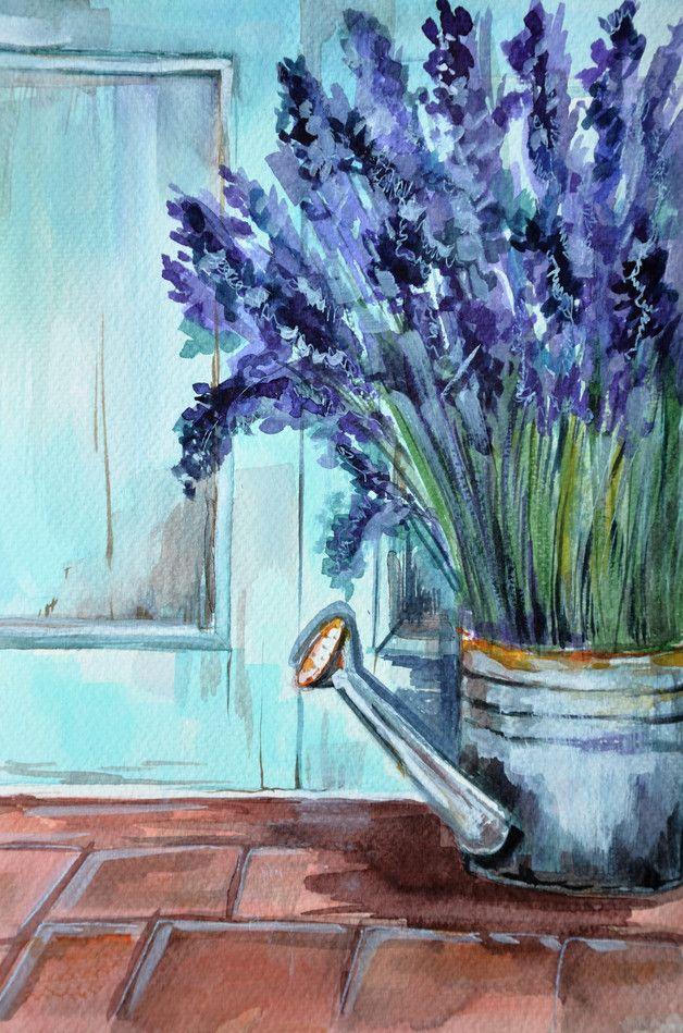 Aquarell Aquarell Bild Lavendel Blumen Ein Designerstuck Von