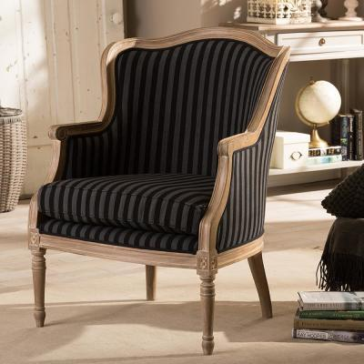 Baxton Studio Charlemagne Black Stripes Fabric Upholstered Accent Chair 28862 5488 Hd The Home Depot Upholstered Accent Chairs Accent Chairs French Accent Chairs