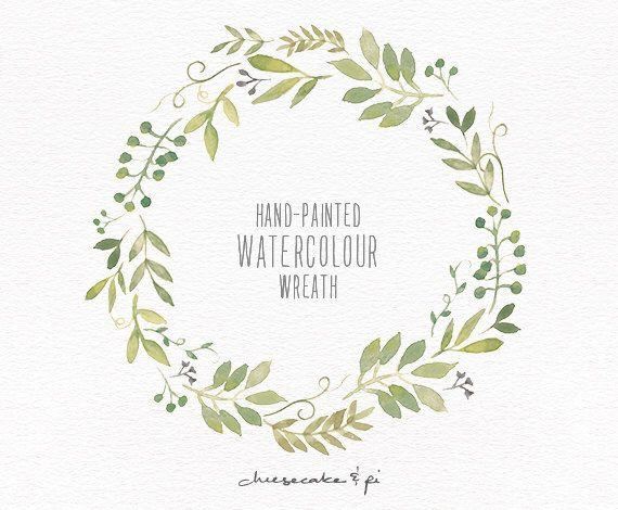 Watercolor Wreath: 1 PNG Floral Clip Art / Wedding Invitation Clip Art /  Commercial Use